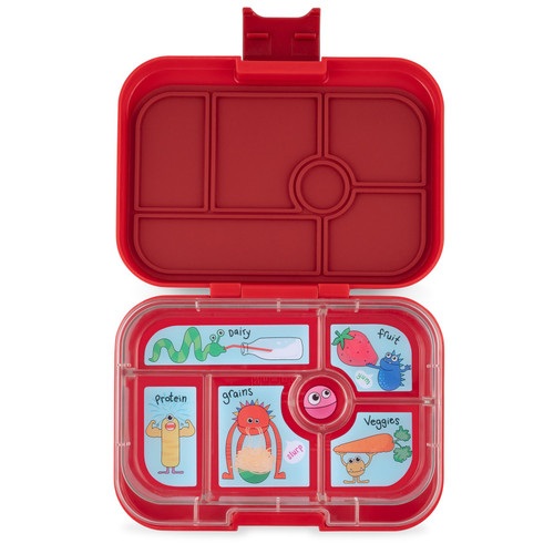 yumbox original style red bento box, shown open and empty