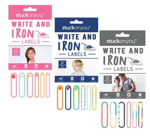 assortment of stuck on you iron on labels