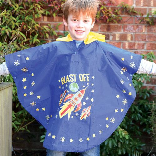 floss and rock kids rain poncho, blue with rocket design
