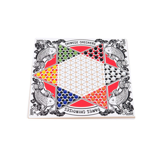 rustik chinese checkers board shown set up for game