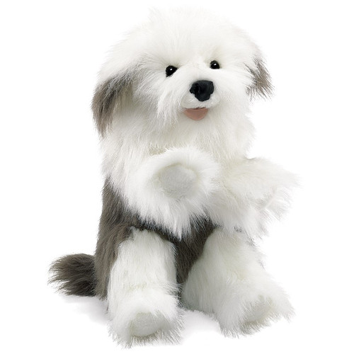 folkmanis sheepdog puppet seen from front
