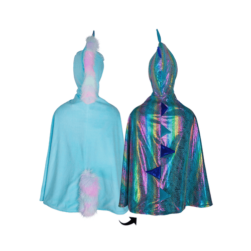 Great pretenders reversible unicorn and dragon dress up cape for kids