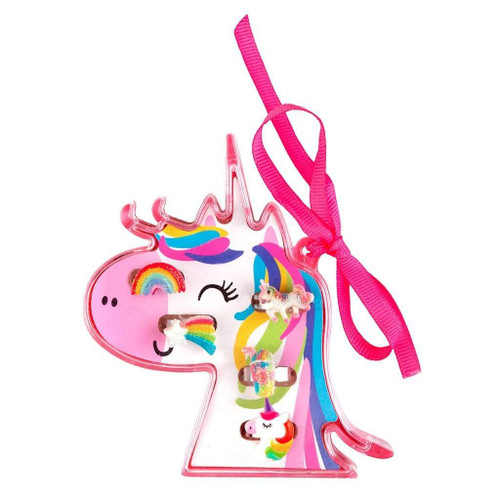 great pretnders unicorn ring set, 5 rings for kids in a unicorn-shaped case
