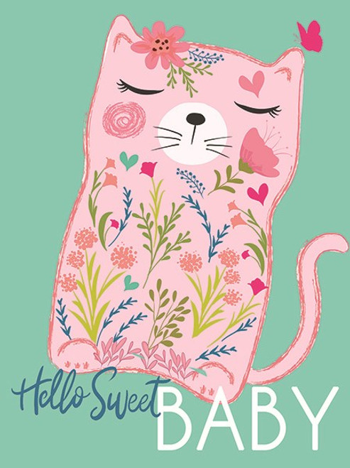 baby shower card, pink cat on an aqua background, hello sweet baby