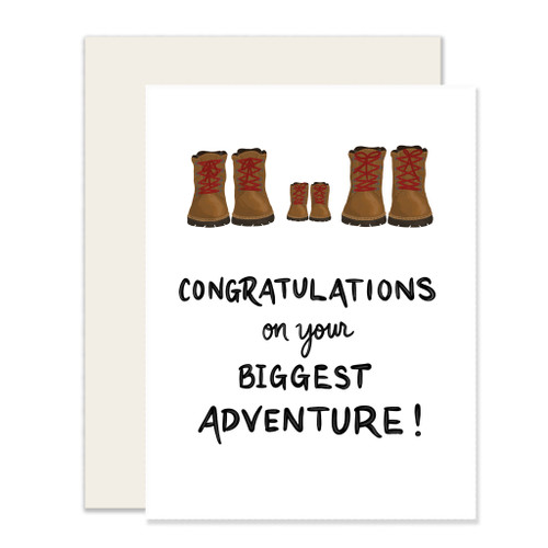 shower card biggest adventure, two pairs of adult hiking boots with a tiny pair in the middle