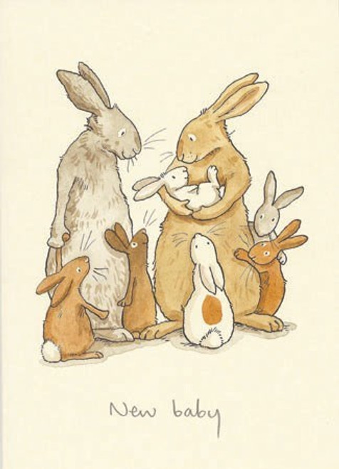 New Baby card, cream with bunny family