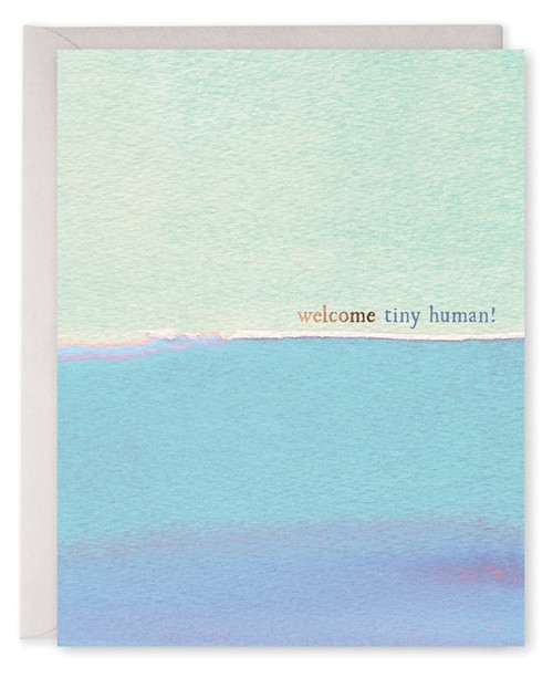welcome tiny human card with blue watercolour gradient