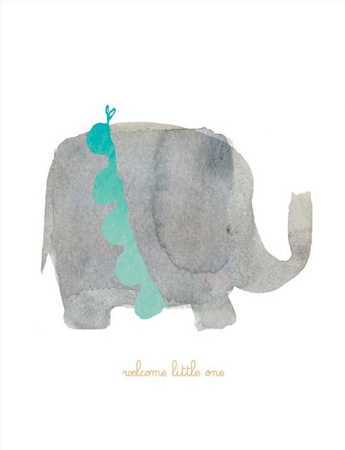 welcome little one, pastel elephant on a white background