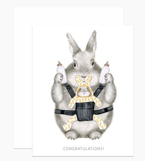 Congratulations baby card, white with bunny and baby bunny in soft carrier