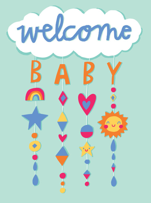 Welcome baby colourful mobile on pale blue background