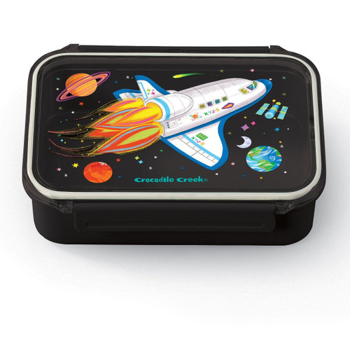crocodile creek space explorer bento box- navy base and clear lid with rocket print