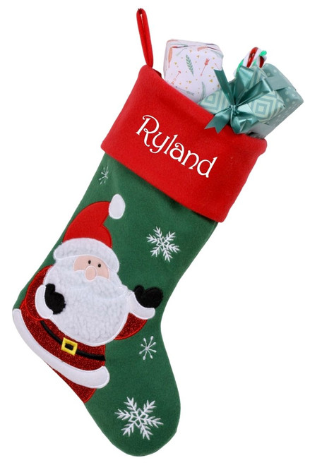 Snug As A Bug Classic Christmas stocking, Santa, personalized and filled with gifts