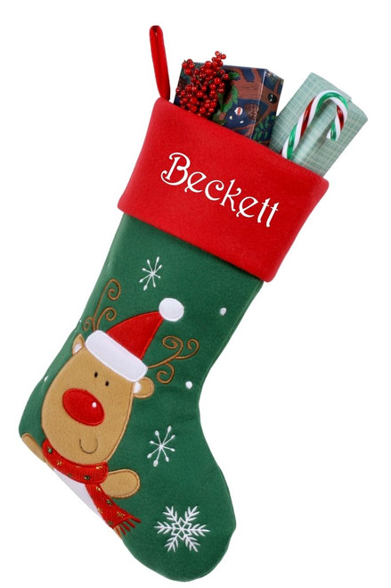 Snug As A Bug Classic Christmas stocking, Reindeer, personalized and filled with gifts