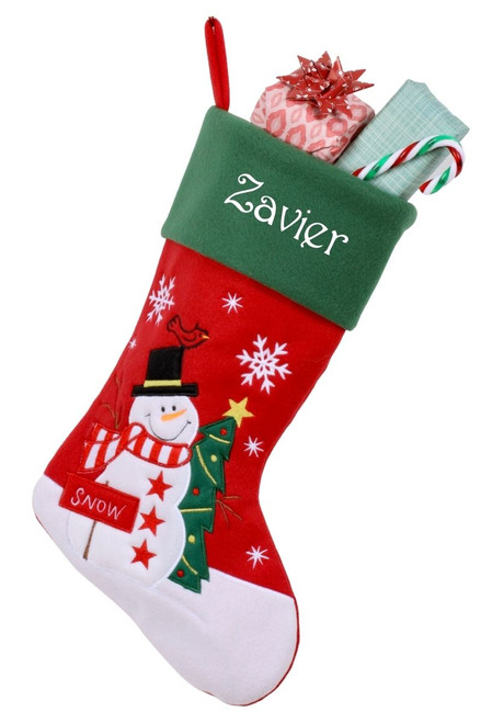 Snug As A Bug Classic Christmas stocking, Snowman, personalized and filled with gifts