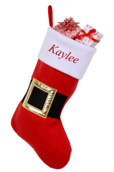 """Snug As A Bug Santa Belt Christmas stocking, personalized """"Kaylee"""" with gifts"""