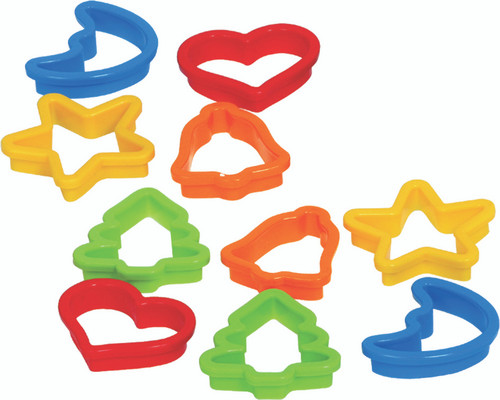 10 colourful plastic cookie cutters, assorted shapes