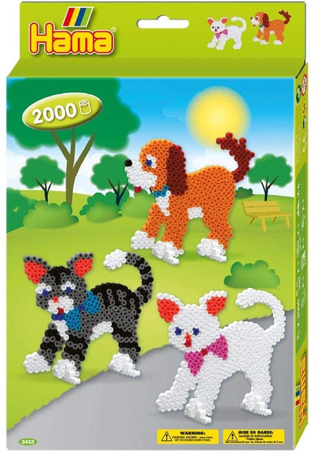 hama beads craft kit for kids, dogs and cats theme