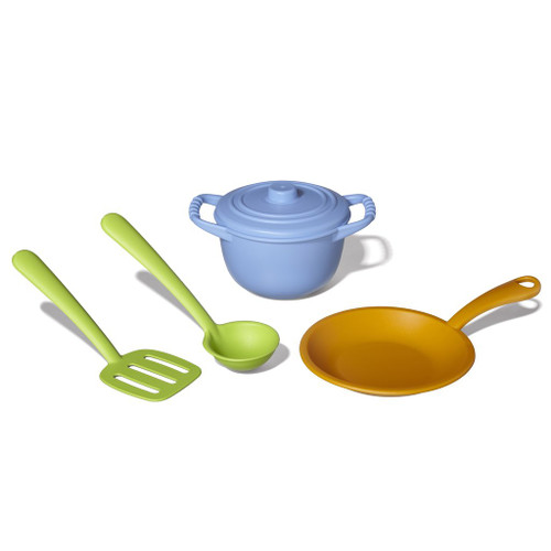 Green toys chef set, two cooking pots and two utensils for kids