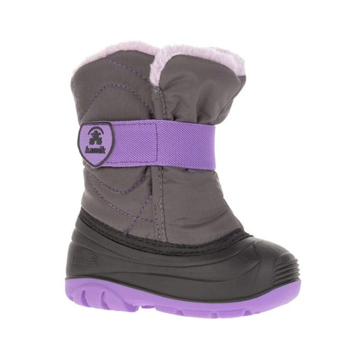 Kamik snowbug fashion boot for toddlers, charcoal/orchid colour