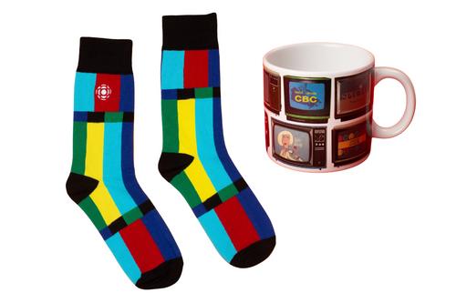 CBC standby signal adult socks with heat-reactive tv show mug