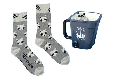 Raccoon socks with raccoon in a toronto recycling bin mug