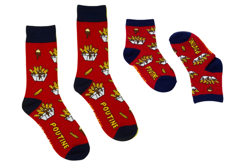 Poutine print socks set for adults and kids, red