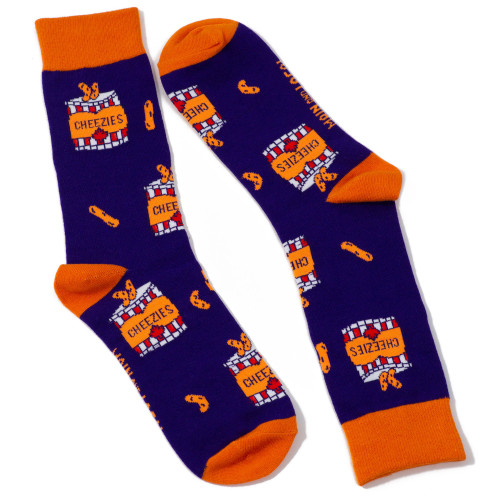 Canadian Cheezies socks for adults, purple and orange, made by Main and Local
