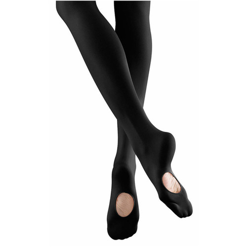 Mondor black convertible foot dance tights child