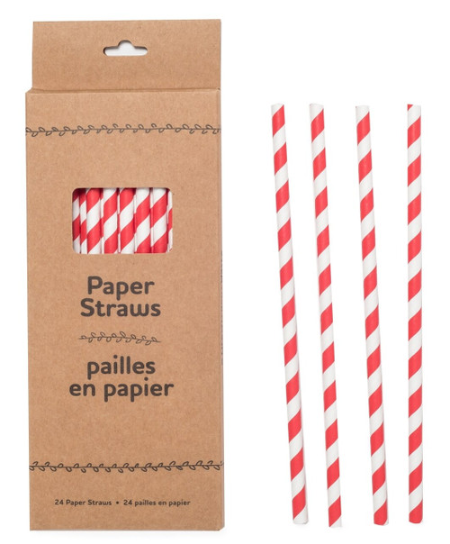 Paper Straws-Red Striped
