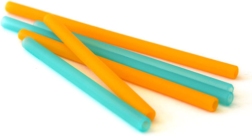 Silicone Straw 6 Pk-Sky/Yellow