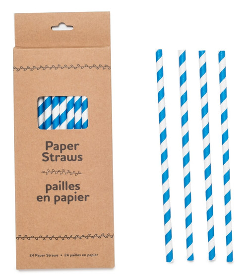 Paper Straws-Blue Striped