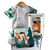 a grouping of 3 baby gifts with a wilderness theme, a onesie, a teether and a soft book