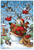assembled puzzle is a painting of a snowman in winter clothes with birds