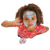 a child with natural curly hair is wearing princess face paint