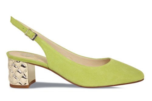 Vanda (Quilted): Lime Suede
