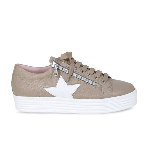 Star: Taupe & White Leather