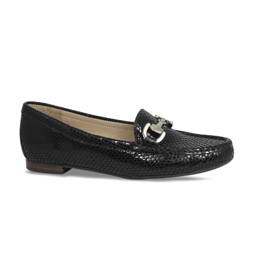 Black Python Flat Everyday Loafer