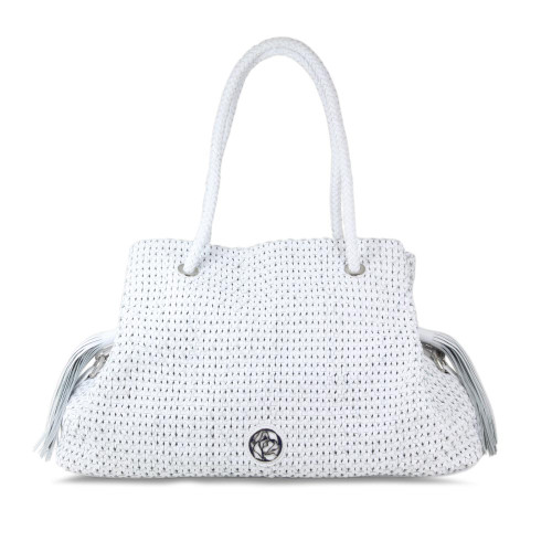 Sass: White Leather Weave