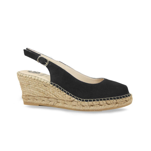 Emmy Black suede Comfortable Wedge Sandal from Lisa Kay London
