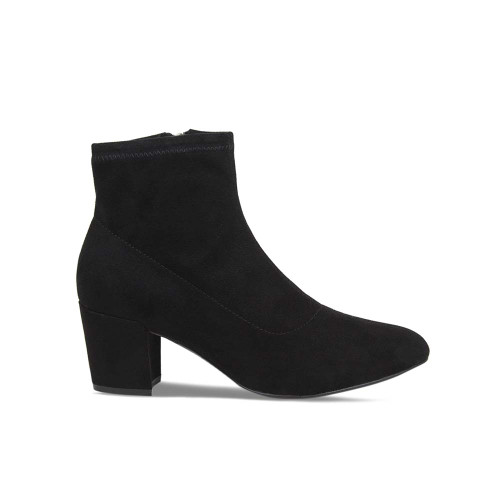 Black Suede Heeled Ankle Boot