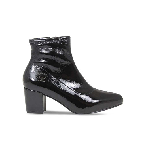 Black Patent Heeled Ankle Boot