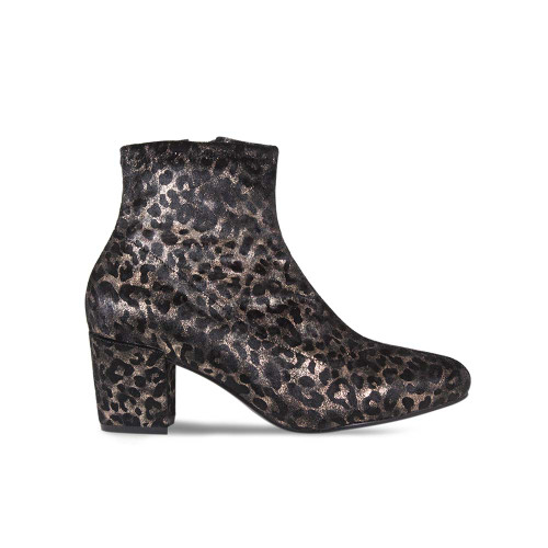 Leopard Suede Heeled Ankle Boot