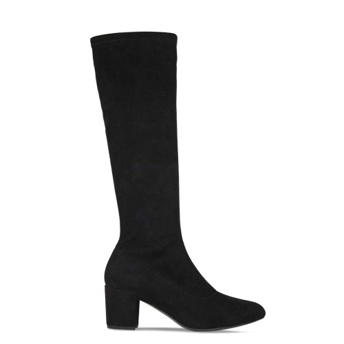 Knee High Black Suede Leather Boot