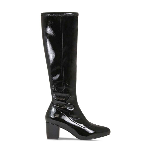 Knee High Black Patent Leather Boot
