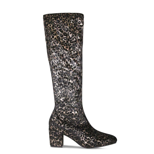 Knee High Leopard Suede Leather Boot