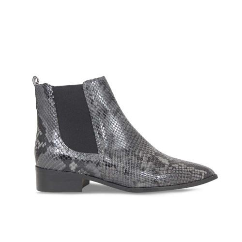 Snake Print Flat Chelsea Boot
