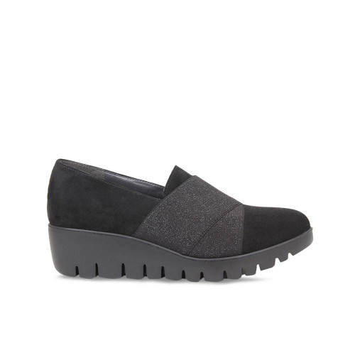 Black Suede Wedge Platform Loafer