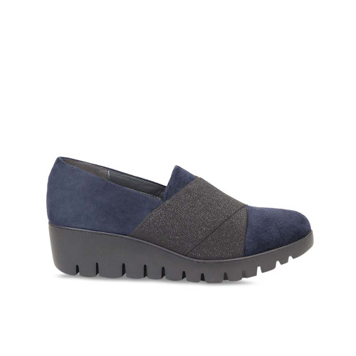 Navy Suede Wedge Platform Loafer