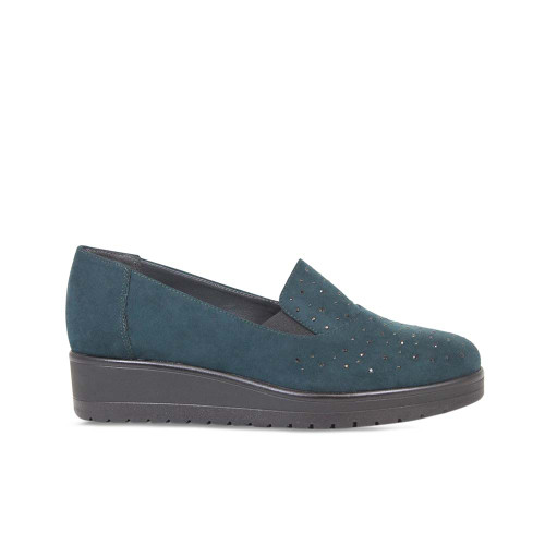 Bottle Green Suede Platform Loafer