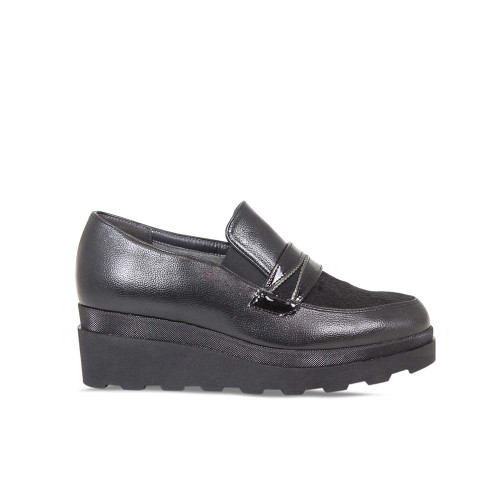 Black Leather/Pony Wedge Loafers